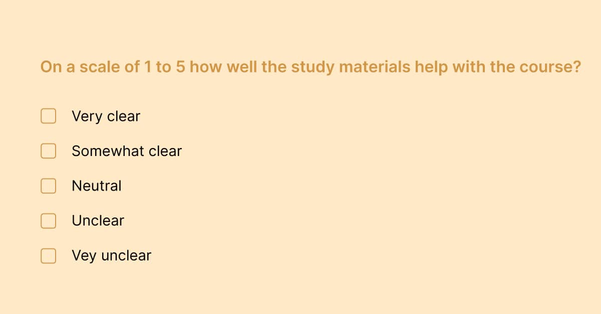 Question example in a student survey