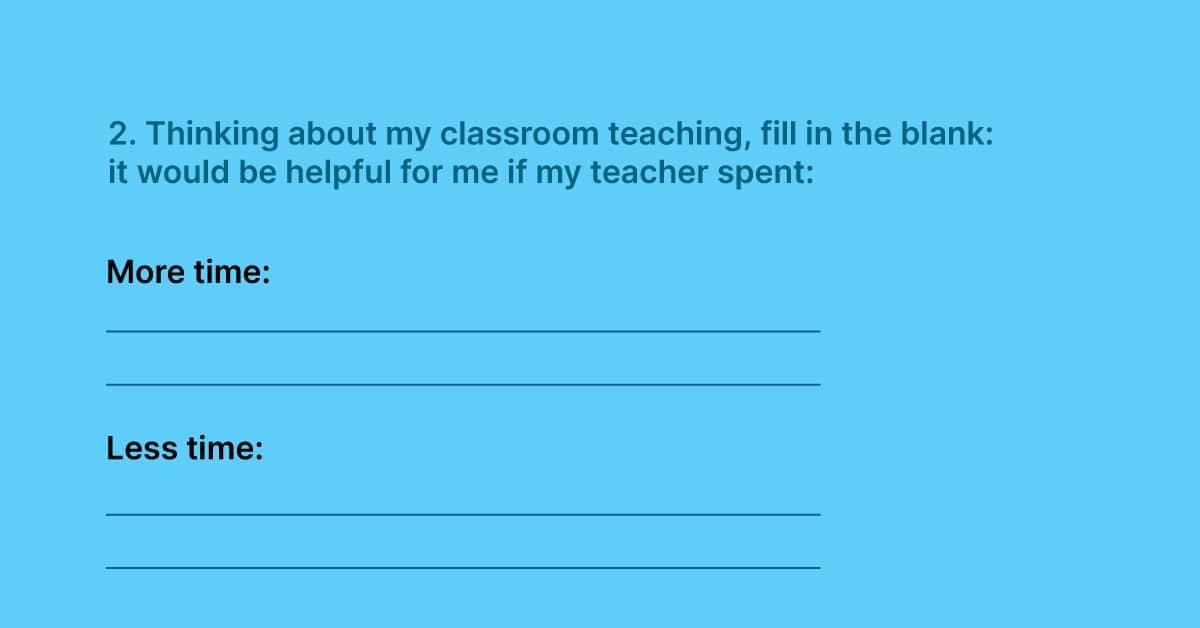 Gathering teacher feedback in a student survey