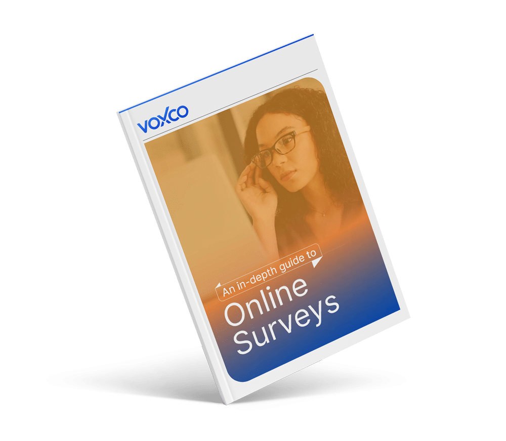 The Voxco Online Surveys book mockup s